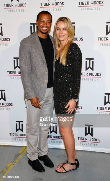 Golfer Tiger Woods and ski racer Lindsey Vonn attend Tiger Jam 2014 at the Mandalay Bay Events Center on May 17 2014 in Las Vegas Nevada