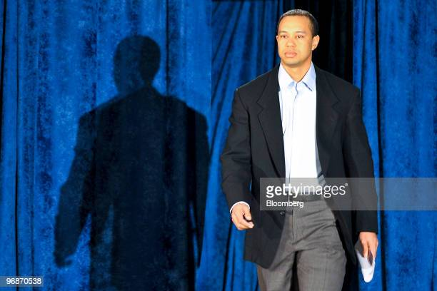 Golfer Tiger Woods arrives for a press conference at TPC Sawgrass Clubhouse, headquarters of the PGA Tour, in Ponte Vedra Beach, Florida, U.S., on...