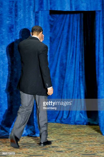 Golfer Tiger Woods leaves following a press conference at TPC Sawgrass Clubhouse, headquarters of the PGA Tour, in Ponte Vedra Beach, Florida, U.S.,...