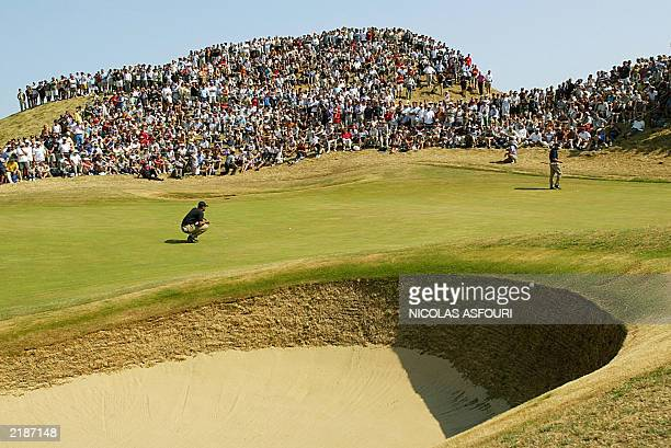 Golfer Tiger Woods line up his putt on the 6th green during the third round at The Open Championship at Royal St. George's in Sandwich 19 July 2003....
