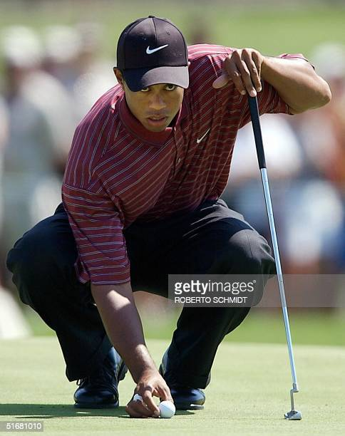 US golfer Tiger Woods lines up his putt on the 2nd green during the final round of the 2002 PGA Championship 18 August 2002 at Hazeltine National...