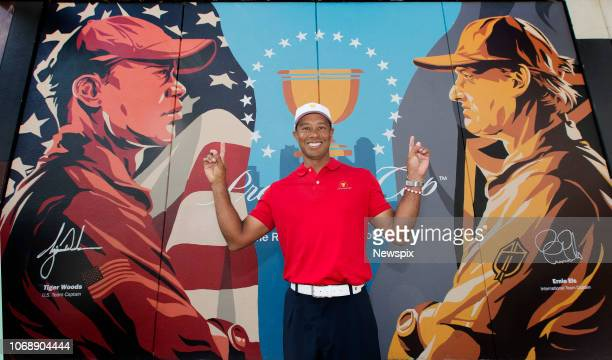 MELBOURNE VIC Golfer Tiger Woods promotes next years Presidents Cup at Royal Melbourne in Melbourne Victoria
