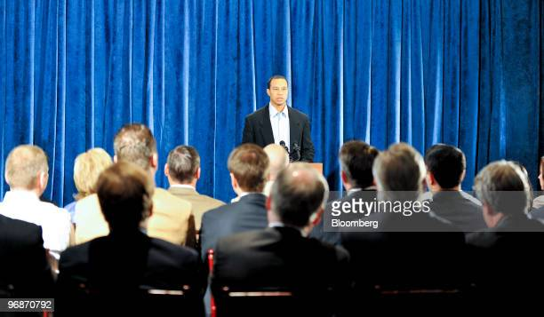 Golfer Tiger Woods speaks during a press conference at TPC Sawgrass Clubhouse, headquarters of the PGA Tour, in Ponte Vedra Beach, Florida, U.S., on...