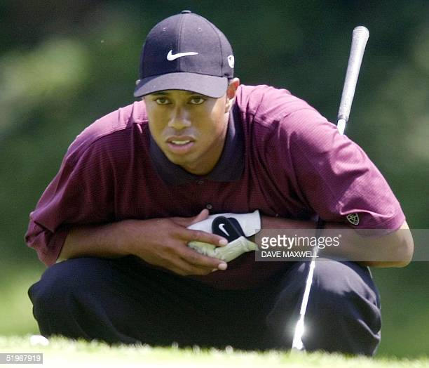 Golfer Tiger Woods studies his putt on the eighth hole 20 August, 2000 during the final round of the 82nd PGA Championship at Valhalla Golf Club in...