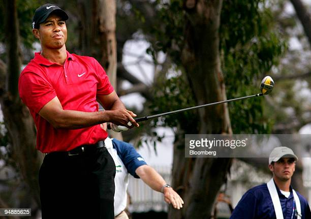 Golfer Tiger Woods tees off from the 5th hole during a 18hole playoff at the 108th US Open at Torrey Pines Golf Course in La Jolla California US on...