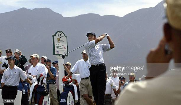 Golfer, Tiger Woods tees off from the 9th during a practice round, 19 November 2003 prior to the start of the Presidents Cup, Thursday at the Links...