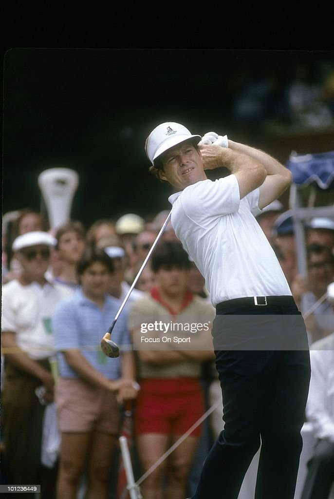 Golfer Tom Watson in action during play June 1983 at the US Open Golf Tournament at the Oakmont Country Club in Oakmont, Pennsylvania. Watson finished the tournament in second place at -3 under par.