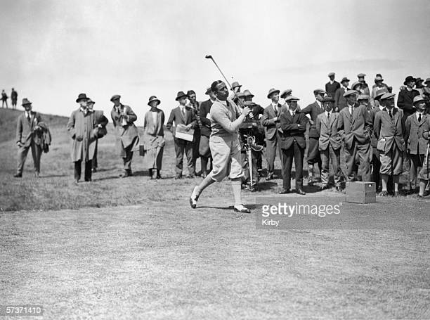 Golfer Walter Hagen in action during the Open Golf Championships at Hoylake, June 1924.