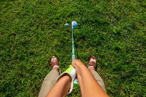 Golfer with Golf Club Fairway Wood and Golf Ball - gettyimageskorea