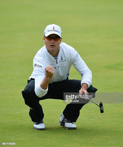 US golfer Zach Johnson celebrates making his birdie putt on the 18th green during his final round 66 on day five of the 2015 British Open Golf...