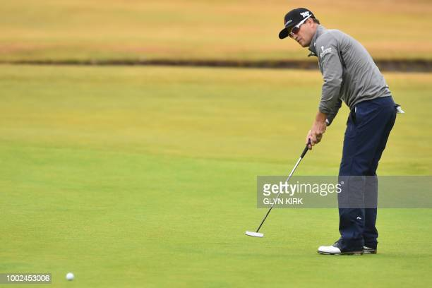 US golfer Zach Johnson makes this birdie putt on the 18th green during his second round 67 on day 2 of The 147th Open golf Championship at Carnoustie...