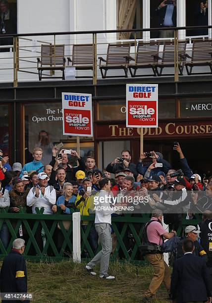 US golfer Zach Johnson meets some of the fans with the Claret Jug the trophy for the Champion golfer of the year after winning the threeway playoff...