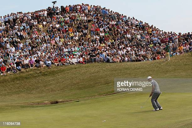 US golfer Zach Johnson misses his putt on the 6th green on the second day of the 140th British Open Golf championship at Royal St George's in...