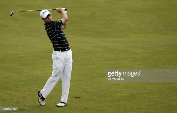 US golfer Zach Johnson plays a shot on the 7th fairway on the first day of the 138th British Open Championship at Turnberry Golf Course in south west...