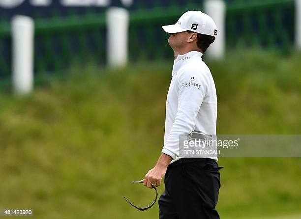 US golfer Zach Johnson reacts on the 18th green after winning the threeway playoff on day five of the 2015 British Open Golf Championship on The Old...