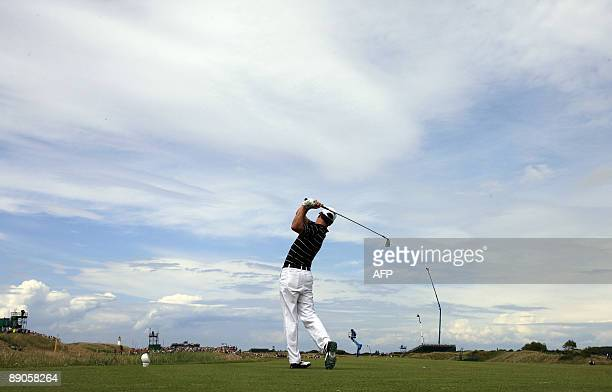 US golfer Zach Johnson tees off from the 6th tee on the first day of the 138th British Open Championship at Turnberry Golf Course in south west...