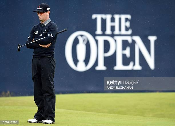 US golfer Zach Johnson waits on the 18th green during his second round 70 on day two of the 2016 British Open Golf Championship at Royal Troon in...
