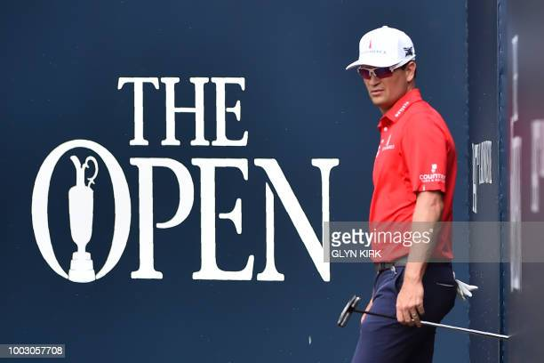 US golfer Zach Johnson walks onto the 1st tee during his third round on day 3 of The 147th Open golf Championship at Carnoustie Scotland on July 21...
