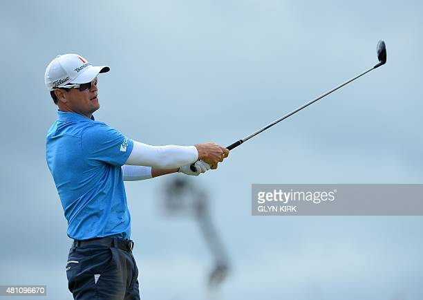US golfer Zach Johnson watches his shot from the 6th tee during his second round 71 on day two of the 2015 British Open Golf Championship on The Old...