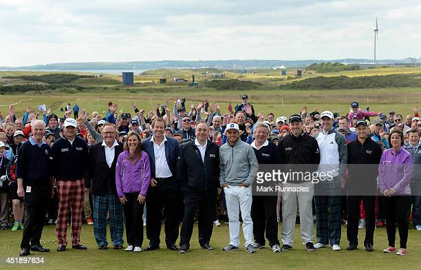 Golfers and dignitaries pose during a Club Golf Event at Murcar Links personalities include First Minister Alex Salmond Paul Lawire of Scotland...