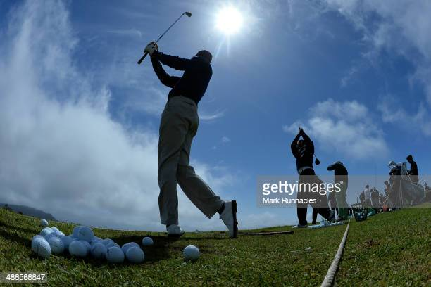 Golfers are seen warming up on the practice ground during the ProAm day at the Madeira Islands Open at Club de Golf do Santo da Serra on May 7 2014...
