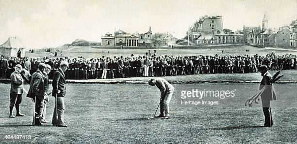 Golfers at the Open Championship St Andrews Scotland 1890 Willie Park champion in 1887 and 1889 about to putt The nearest golfer to the left of Park...
