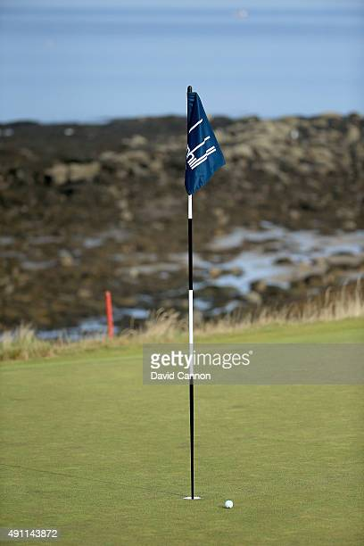 Golfers ball nestles close to the flagstick on the 12th green during the third round of the 2015 Alfred Dunhill Links Championship at Kingsbarns on...
