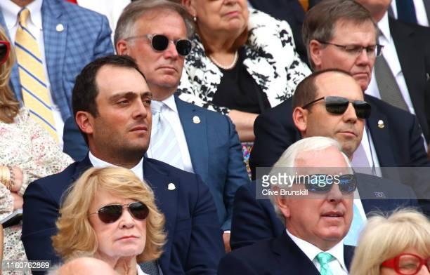 Golfers Francesco Molinari and Sergio Garcia attend the Royal Box during Day Seven of The Championships - Wimbledon 2019 at All England Lawn Tennis...