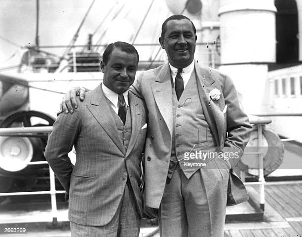 US golfers Gene Sarazen and Ryder Cup team captain Walter Hagen on arrival at Southampton Original Publication People Disc HD0181