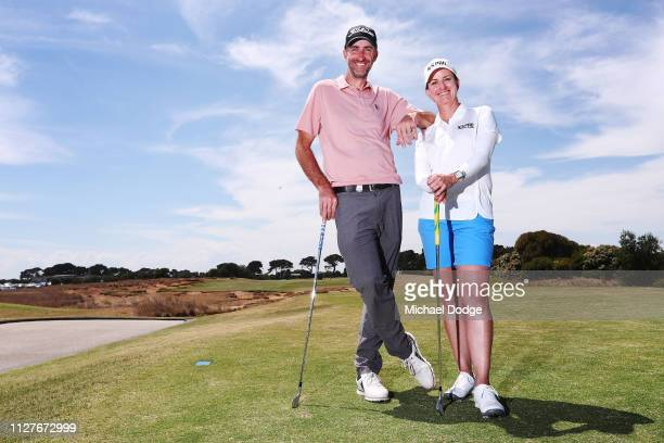 Golfers Geoff Ogilvy and Karrie Webb of Australia pose prior to the ISPS Handa Vic Open at 13th Beach Golf Club on February 06 2019 in Geelong...