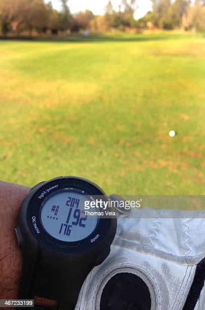 Golfer's GPS Yardage Watch to the Green Gives the distance to the Front Middle and Back of the Green