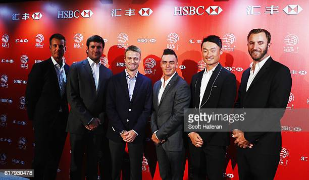 Golfers Henrik Stenson of Sweden Bubba Watson of the United States Russell Knox of Scotland Rickie Fowler of the United States Haotong Li of China...