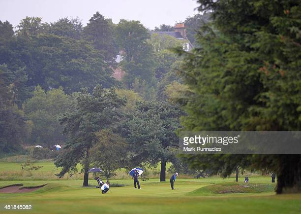 Golfers in action during the Golfbreakscom PGA Fourball Championship Scottish Regional Qualifier at Musselburgh Golf Club on July 8 2014 in...