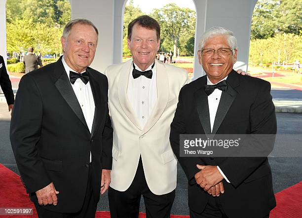 Golfers Jack Nicklaus Tom Watson and Lee Trevino attend The Greenbrier for the gala opening of the Casino Club on July 2 2010 in White Sulphur...