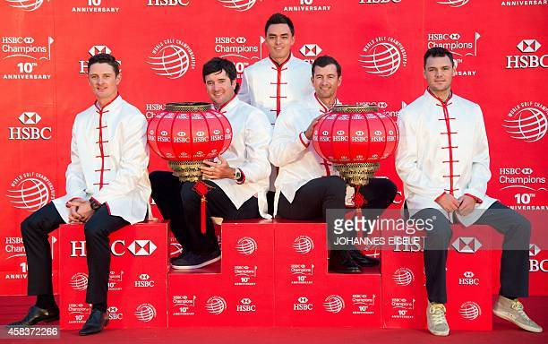 Golfers Justin Rose of England Bubba Watson of the US Rickie Fowler of the US Adam Scott of Australia and Martin Kaymer of Germany wear Chinese...