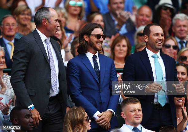 Golfers Matt Kuchar, Tommy Fleetwood and Sergio Garcia attend day six of the Wimbledon Lawn Tennis Championships at All England Lawn Tennis and...