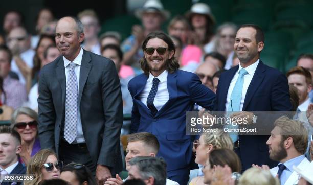 Golfers Matt Kuchar,Tommy Fleetwood and Sergio Garcia in the Royal box on Centre Court at All England Lawn Tennis and Croquet Club on July 7, 2018 in...