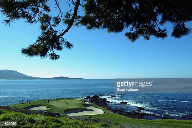 Golfers on the seventh green during the final round of the ATT Pebble Beach National ProAm on February 9 2003 at the Pebble Beach Golf Links in...