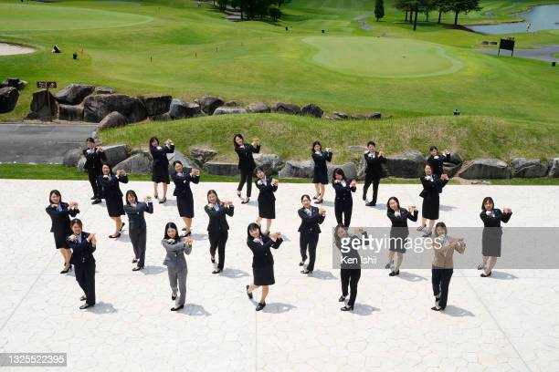 Golfers pose for photos following the JLPGA Initiation Ceremony at Shizu Hills Country Club on June 26, 2021 in Hitachiomiya, Ibaraki, Japan.