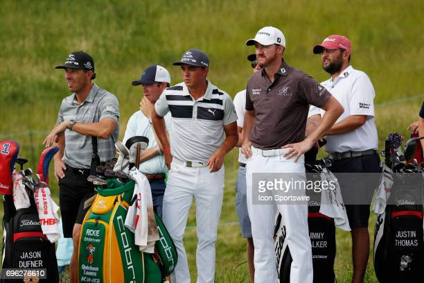 PGA golfers Rickie Fowler and Jimmy Walker wait on a tee during a practice round for the 117th US Open at Erin Hills in Erin Wisconsin