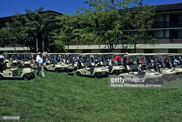 Golfers selecting their golf carts during the 57th Senior PGA Championship held at PGA National Golf Club in Palm Beach Gardens Florida Wednesday...