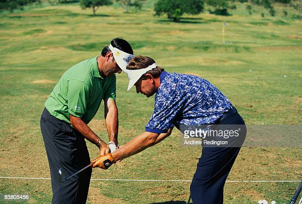 Golfers Seve Ballesteros of Spain and Nick Price of Zimbabwe at the Dimension Data ProAm tournament at the Gary Player Country Club Sun City South...