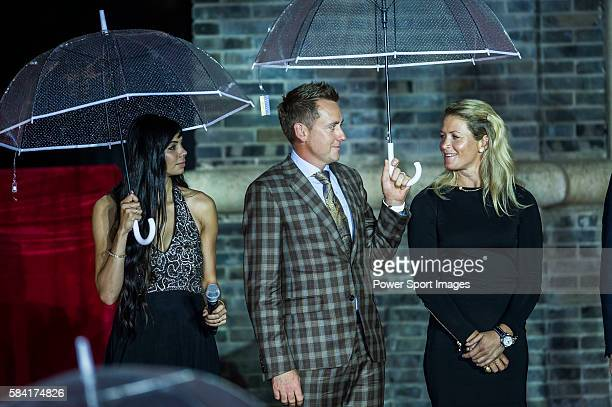 Golfers Sharmila Nicollet of India Ian Poulter of England and Suzann Pettersen of Norway attend the Opening Ceremony of the Mission Hills Celebrity...