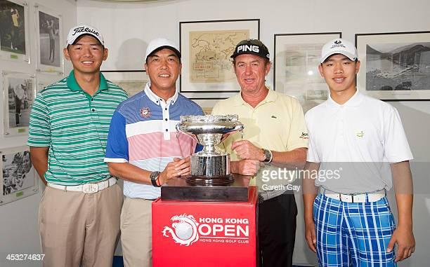 Golfers Shut Yak Jason Hak of Hong Kong Zhang Lianwei of China Miguel Angel Jimrenez of Spain and Guan Tianlang pose for photographs around the Hong...