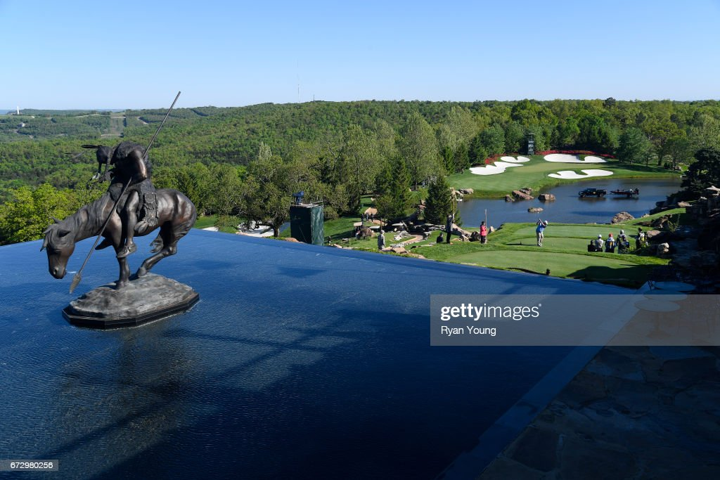 Golfers tee off on the fourth hole during the final round of the PGA TOUR Champions Bass Pro Shops Legends of Golf at Big Cedar Lodge at Top of the Rock on April 23, 2017 in Ridgedale, Missouri.