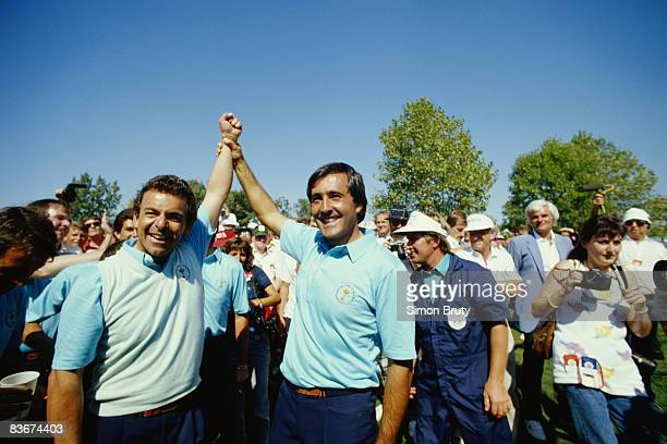 Golfers Tony Jacklin and Severiano Ballesteros celebrate the victory of the European team in the Ryder Cup matches at Muirfield Village, Ohio, 27th...