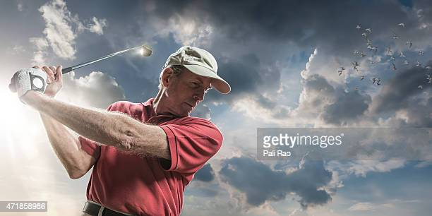 golfing in the sun - drive ball sports stock pictures, royalty-free photos & images