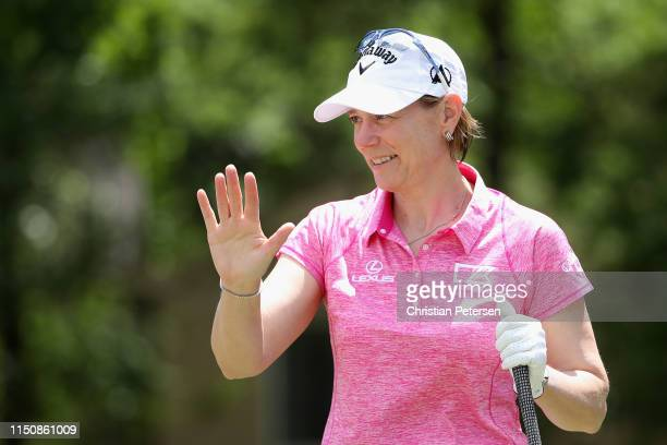 Golfing legend Annika Sorenstam waves as she is introduced during the '3M Greats of Golf' at the Insperity Invitational at The Woodlands Country Club...