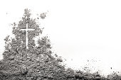 Golgotha hill with cross of Jesus Christ drawing made in ash