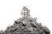 Golgotha hill with Jesus cross made of ash